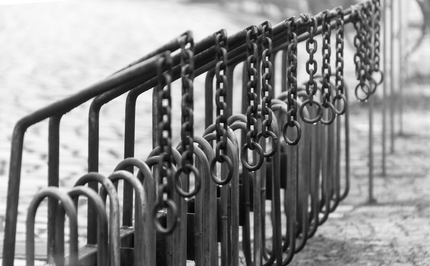 B&w Berlin Photography Berliner Ansichten Black And White Photography Black&white Bycicle Close-up Day Lock Metal No People Outdoors Padlock Protection Rack Railing Safety Security Urban Exploration Wrought Iron Zehlendorf