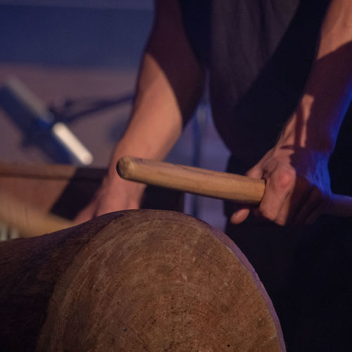 Concert Photography Music Slit Drum Close-up Concert Drum - Percussion Instrument Focus On Foreground Hand Holding Human Hand Indoors  Midsection Music Musical Equipment Musical Instrument Occupation One Person Percussion Percussion Instrument Playing Real People Skill  Wood - Material