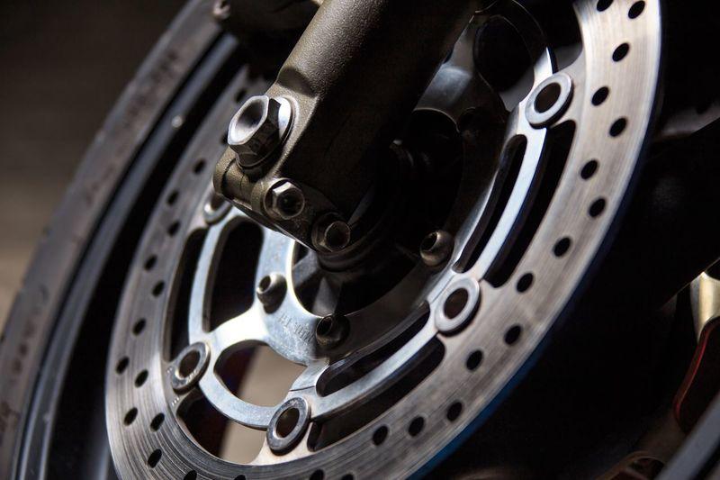 Close-Up Of Motorbike Wheel