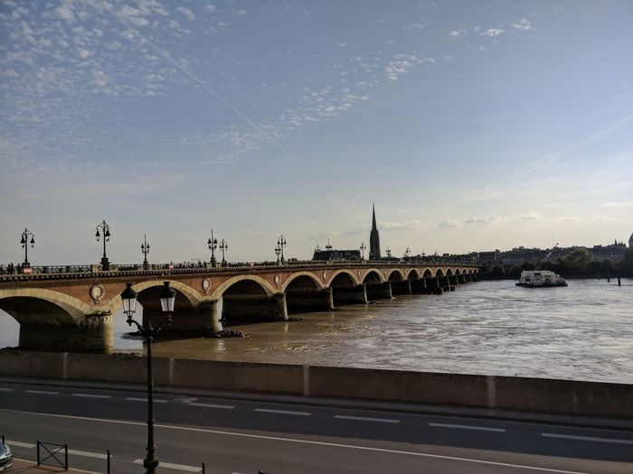 River Bordeaux France City Water Bridge - Man Made Structure Business Finance And Industry Cityscape Sky Architecture Built Structure Horizon Over Water