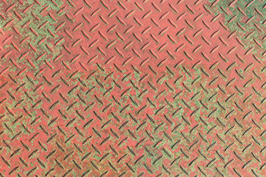 Green Red Weathered Abstract Backgrounds Close-up Day Diamond Plate Floor Full Frame Iron - Metal Metal No People Pattern Red Rusty Seamless Pattern Textured