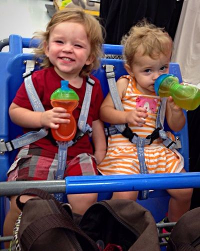 Shopping Happy Ride Grandkids Babies Fun Together Shopping Cart Riding Kids Smiles Children Only Drinks Cart Childhood Cute Comfy  Cousins