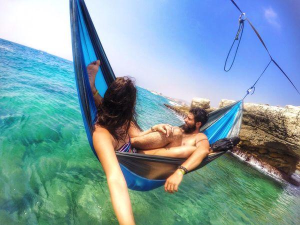 Hammock Couple Beach Blue Water Rocks Lebanon Gopro