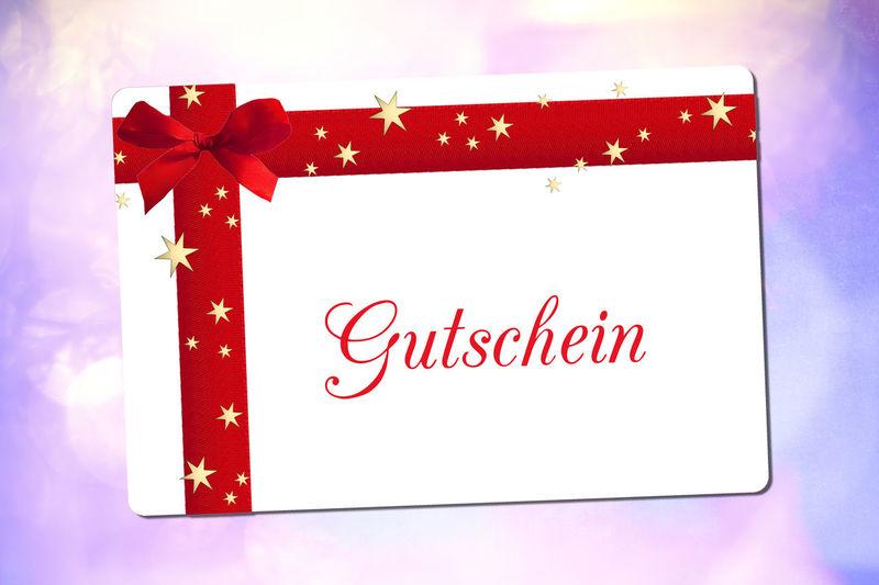 Gutschein Gutschein Karte Gutscheinkarte Voucher German Weihnachten Geschenk Weihnachtsgeschenk Schleife Rot Rote Rote Schleife Sterne  Gold Goldene Sterne Lila