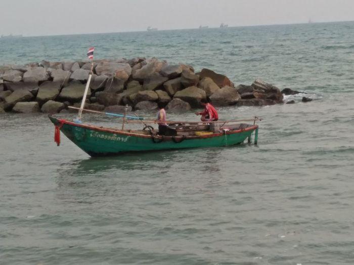 Water Longtail Boat Nautical Vessel Sea Beach Sand Horizon Over Water Sky