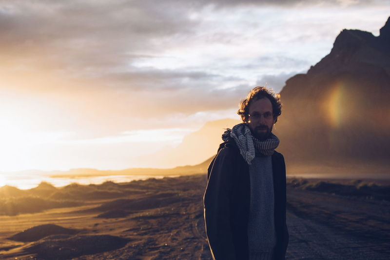 Iceland Warm Clothing Winter Sunset Cold Temperature Men Mountain Rural Scene Portrait Adventure Dramatic Sky A New Beginning Capture Tomorrow Redefining Menswear