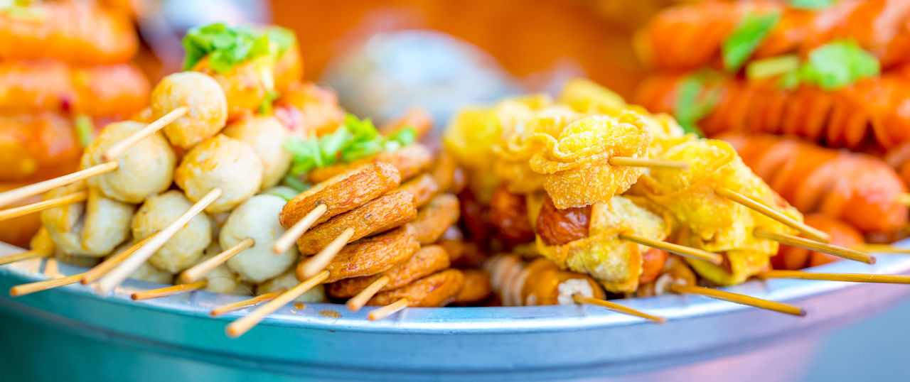 Steamboat with sortiment of different satays Chicken Wing Close-up Day Fast Food Focus On Foreground Food Food And Drink Freshness No People Outdoors Ready-to-eat Satay Seafood Snack Steamboat