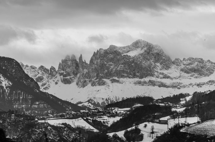 Village of Steinegg in front of the Rosengarten/Catinaccio in winter. Catinaccio Rosengarten Dolomites, Italy South Tyrol Blackandwhite Mountain Mountain Range Nature Tree Landscape Outdoors Scenics Snow No People Winter