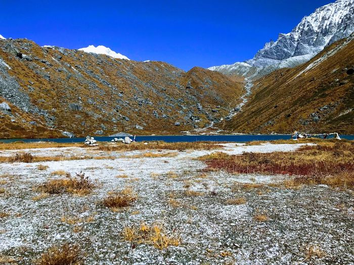 Snow Mountain Winter Nature Scenics Cold Temperature Tranquility Beauty In Nature Tranquil Scene Landscape Day Outdoors Mountain Range Lake No People Sky Clear Sky
