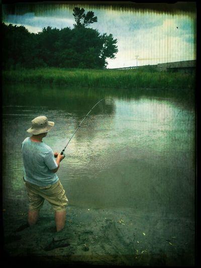 Fishing the Sheyenne River.