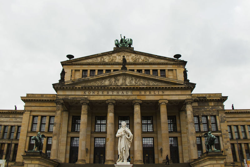 Berlin Conservatory Of Music Architectural Column Architecture Building Exterior Building Of The Conservatory Built Structure Day History Human Representation Low Angle View No People Outdoors Sculpture Sky Statue Travel Destinations