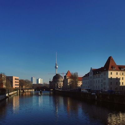 Architecture Berlin Photography Fernsehturm TV Tower Abstract Architecture Berliner Ansichten Berlinstagram Blue Building Exterior Built Structure City Cityscape Clear Sky Day Minimalism Nature No People Outdoors River Sky Skyporn Travel Destinations Water Waterfront