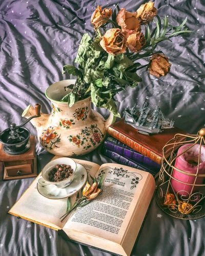 Flat Lay Coffee Book High Angle View Indoors  Flower Textile Old-fashioned Literature Bouquet Day No People Freshness Close-up
