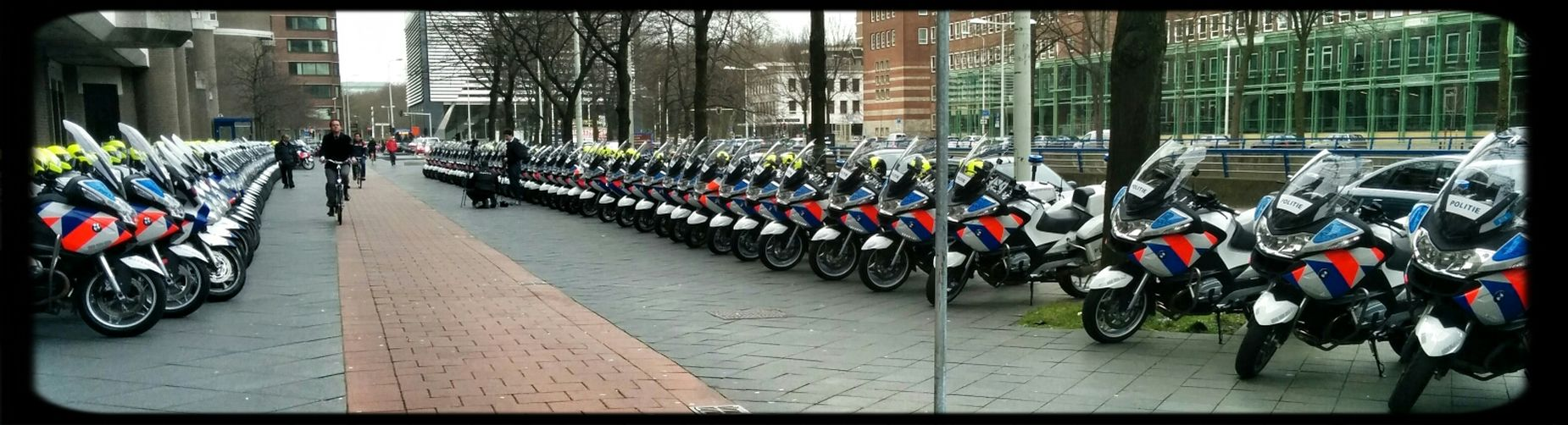 Police motorcycles in preparation for the Nuclear Security Summit 2014 Thehague  Police