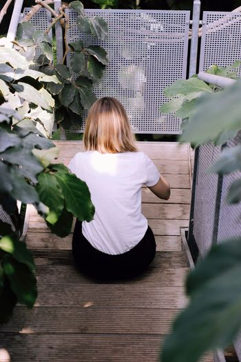 Rear view of woman sitting on steps