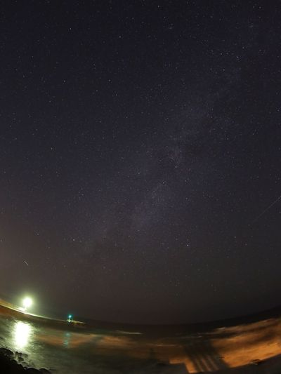夜の日本海こわすぎる😭 Night Sky Scenics Beauty In Nature Star - Space Nature Tranquility Astronomy Tranquil Scene Star Field No People Idyllic Starry Sea Galaxy Water Outdoors Illuminated Space Milky Way Fisheye Long Exposure