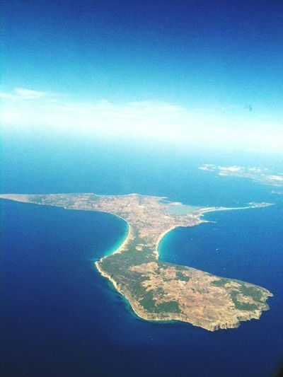 Formentera Island Water Sea Aerial View Blue Scenics Seascape Tranquil Scene Tranquility Beauty In Nature Coastline Sky Ocean Nature Waterfront Outdoors Day Harbor Cloud - Sky Distant Remote