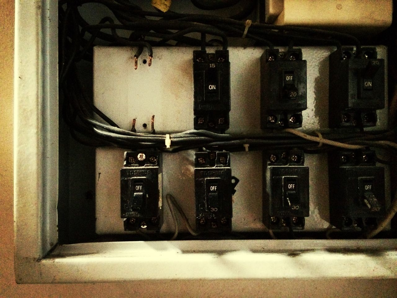 Fuse boxes on wall