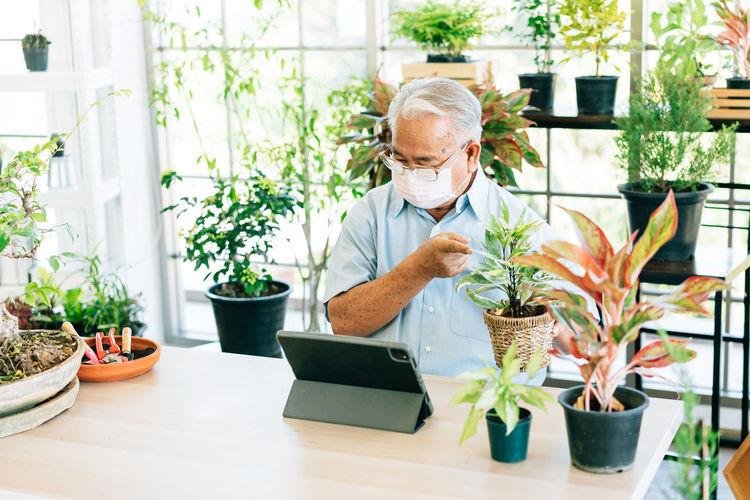 Close-up of senior man wearing mask sitting at botany