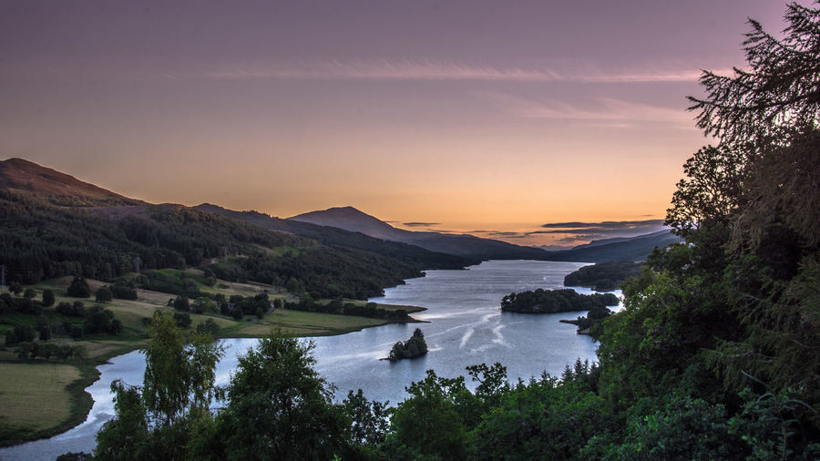 Queens View Nikon D7200 Nikon Photography Scotland Beauty In Nature Cloud - Sky High Angle View Mountain Nature Nikonphotography No People Outdoors Pauldroberts Pitlochry Purple Queensview Reflection Scenics - Nature Sky Sunset Tranquil Scene Tranquility Tree Water