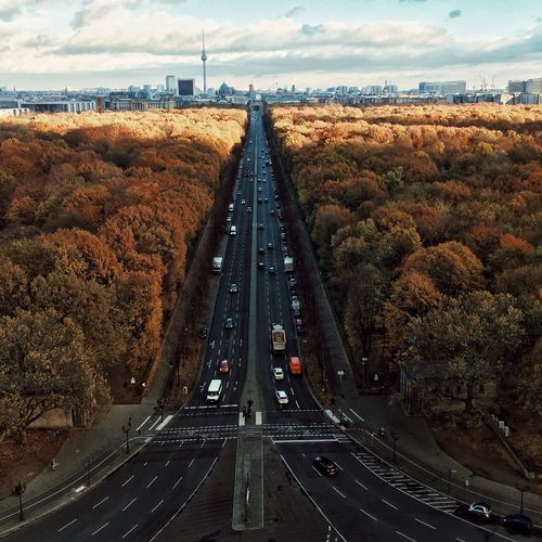 High angle view of highway against sky