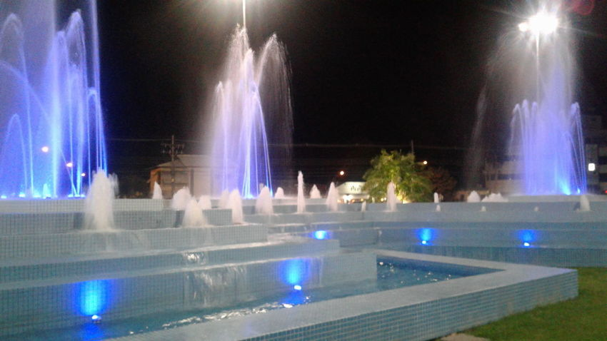 Praza das aguas Architecture Arts Culture And Entertainment Boa Vista-RR Brazil Built Structure Fountains Illuminated Large Group Of People Night Outdoors Real People Roraima Tree Water