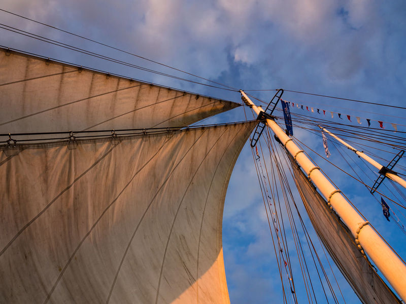 Detail of a windjammer. Cloud - Sky Day Detail Hanse Sail Low Angle View Mast No People Outdoors Rostock Sail Sailing Sailing Ship Sky Tall Ship Warnemünde Windjammer