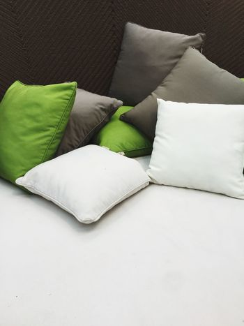 pillows Furniture Indoors  No People Pillow High Angle View Still Life Bed White Color Textile Sofa Relaxation Green Color Cushion Blanket Stuffed Backgrounds Home Interior