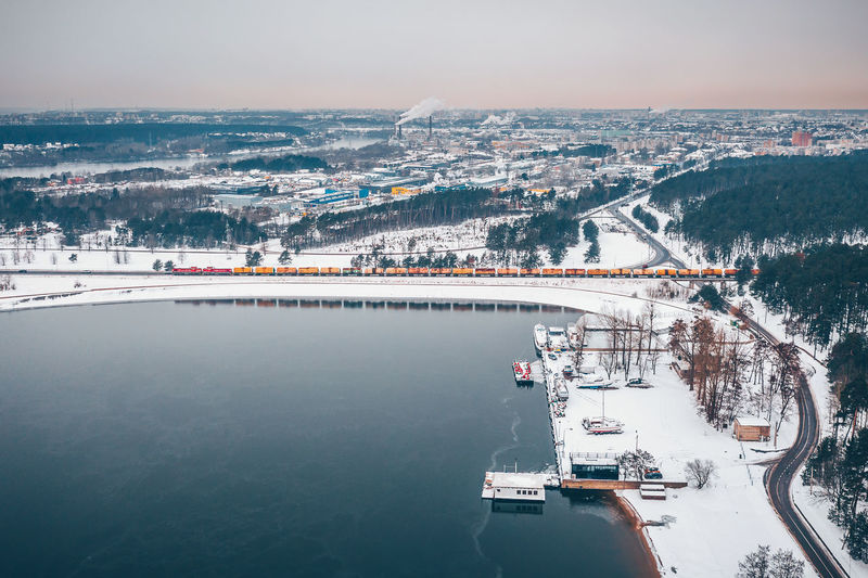 Port Drone  Aerial View Aerial Mavic 2 Mavic 2 Pro DJI X Eyeem Dji Winter Snow Ice Winter Wonderland Europe Kaunas Lithuania Lietuva Port Ships Train Building Exterior Architecture Water Built Structure City Transportation Cityscape High Angle View Nature Mode Of Transportation Day No People Nautical Vessel Cold Temperature Building River Outdoors