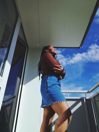 @Laura7Teen / @ablackado on IG 📸 Fashion Germany Europe Sky EyeEm Selects Young Women Wireless Technology Women Standing Technology Holding Communication Steps And Staircases Three Quarter Length Sky Mini Skirt Using Phone Stairs Smart Phone Taking  Skirt Mobile Phone Steps Autumn Mood