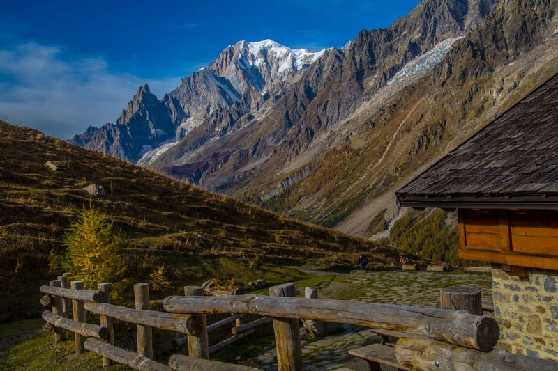 refuge bonatti,courmayeur,italy Mountain Architecture Sky Mountain Range Built Structure Scenics - Nature Nature Beauty In Nature Building Exterior Building Wood - Material House Landscape Land Environment No People Day Cold Temperature Snow Blue Outdoors Snowcapped Mountain Mountain Peak