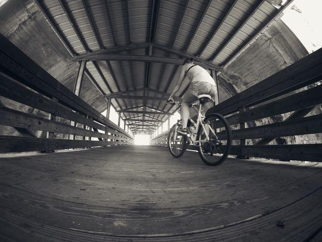 Blackandwhite Biking Bridge Happy
