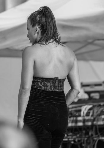 Manhattan NYC NYC Street Photography Backless Blackandwhite Blackandwhite Photography Candid Candid Photography Dancer One Person Real People Rear View Streetfashion Streetphotography Streetstyle Three Quarter Length