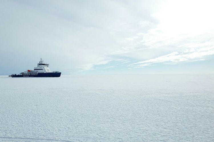 Blue Icebreaker Scenary Sea Ship Sky Snow Vast White Art Is Everywhere