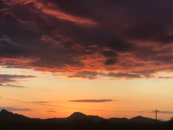 Arizona sunset Arizona Sunset Sunset Silhouette Beauty In Nature Scenics Orange Color Sky Nature Tranquil Scene Tranquility Cloud - Sky Dramatic Sky No People Mountain Fuel And Power Generation Outdoors Alternative Energy Landscape Technology