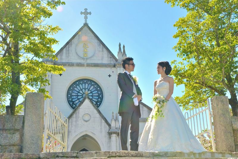 Adult Architecture Belief Bride Building Exterior Celebration Couple - Relationship Emotion Event Fashion Life Events Love Newlywed Place Of Worship Positive Emotion Religion Two People Wedding Wedding Dress Wife Women Young Adult