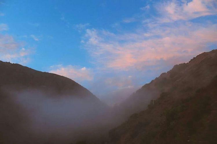 California Highway 1 Mountaintop Fog Sunset