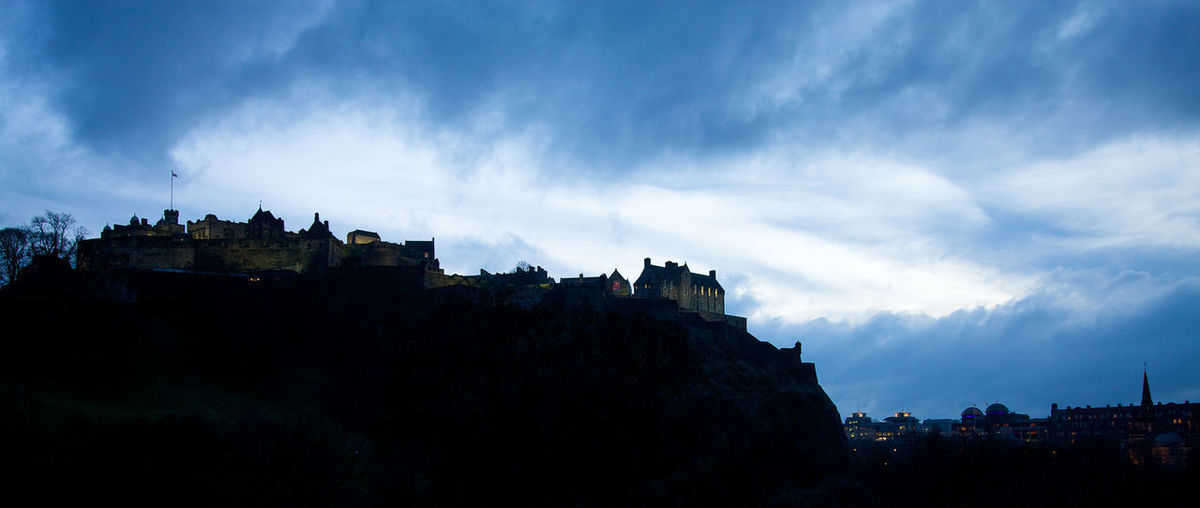Panoramic view of historic buildings against sky