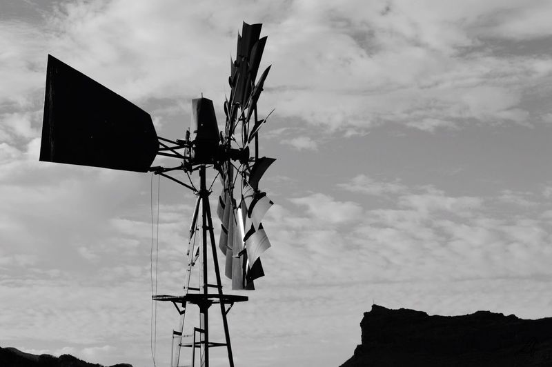 Black And White Friday Sky Outdoors No People Old Winmill In The Mountains Little Farm Gran Canaria Technology