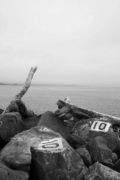 Half Moon Bay California Breakwater Fog Pacific Ocean Black And White Shades Of Grey