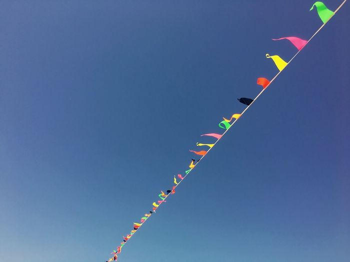 Low angle view of buntings against clear blue sky