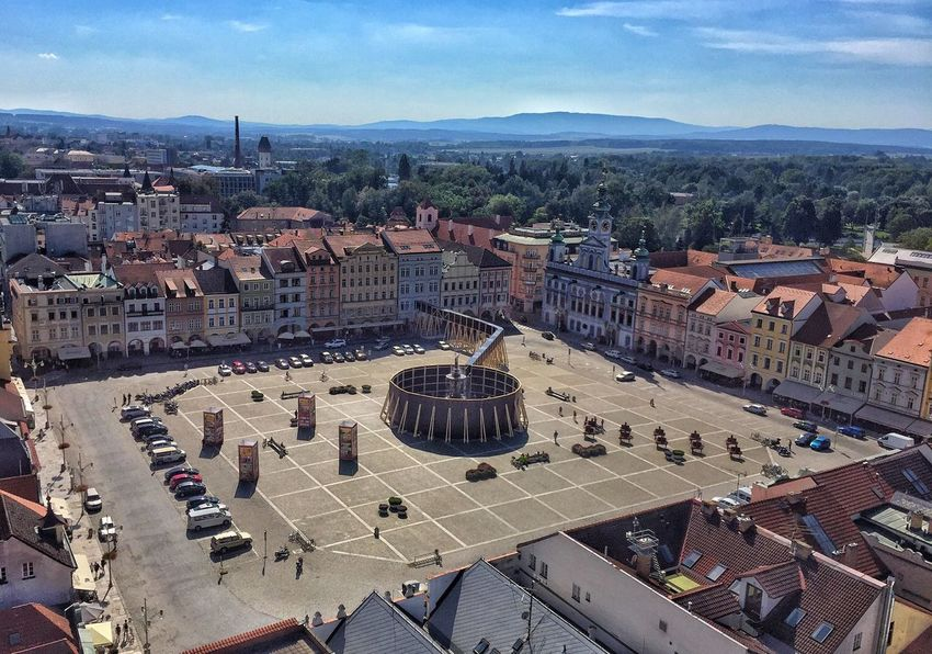 High Angle View Built Structure Street City Town Architecture Building Exterior Travel Destinations Road Car Land Vehicle Mountain Transportation Sky Residential District Roof City Life Tourism Cloud - Sky Office Building Ceske Budejovice