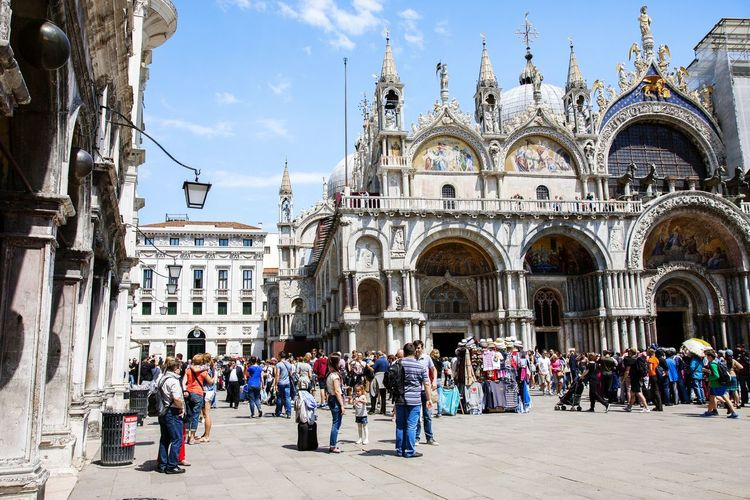 Venice Italy Europe Travel San Marco Square San Marco Piazza Basilica Di San Marco Square Tourists Architecture