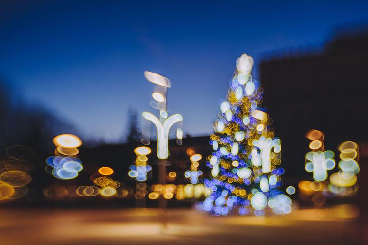 Bokeh Celebration Christmas Lights Christmas Tree Dark Decoration Defocused Holidays Illuminated Lensbaby  Lighting Equipment Lights Lithuania Night Nikon Nikon D810 Panevėžys Postcard Selective Focus Tree Xmas