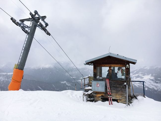 Up on the mountain. Winter Cold Temperature Snow Weather Sky Covering No People Outdoors Nature Scenics Day Architecture Overhead Cable Car Mountain Ski Lift Top Of The Mountains Ski Piste Lift