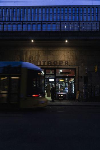 Blurred motion of illuminated street at night