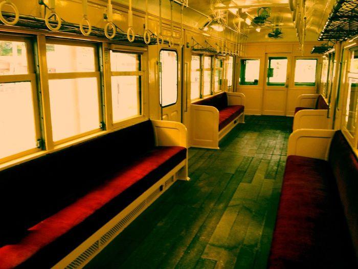 Retro Train Interior Design Taking Photos