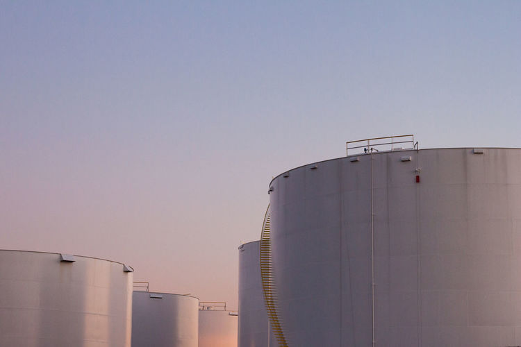 Fuel Storage tanks in South San Francisco Architecture Building Building Exterior Built Structure City City Life Cylinder Development Exterior Fuel Gas Gasoline Oil Refinery Sky Stairs Storage Tall Tank