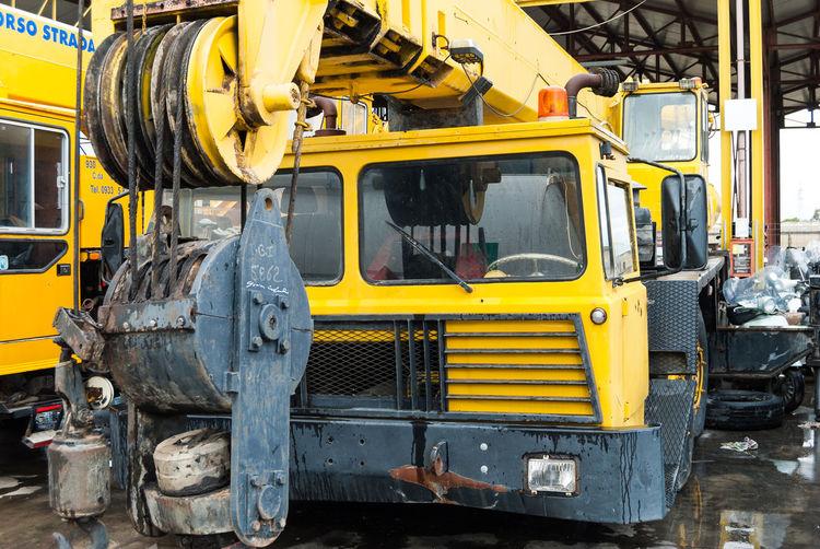 Cranes Cranespotting Day Junkyard Junkyard Discoveries Junkyard Scrapmetal Junkyardcar Land Vehicle Mode Of Transport No People Outdoors Transportation Wrecking Wrecking Car Wrecking Yard Yellow