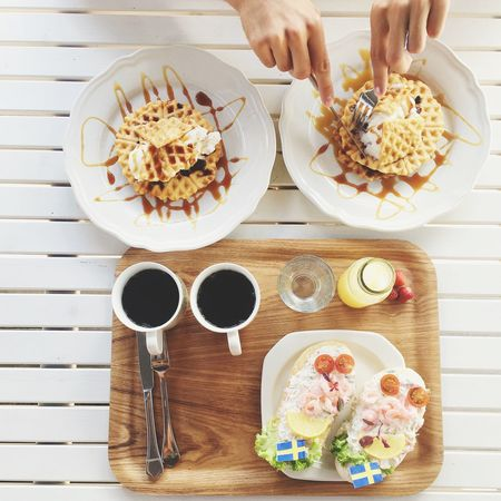 Another breakfast Sweden flag Drink Food And Drink Table Waffle Coffee Breakfast High Angle View Hands Juice